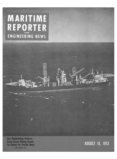 Cover of August 15, 1973 issue of Maritime Reporter and Engineering News Magazine