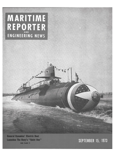 Cover of September 15, 1973 issue of Maritime Reporter and Engineering News Magazine