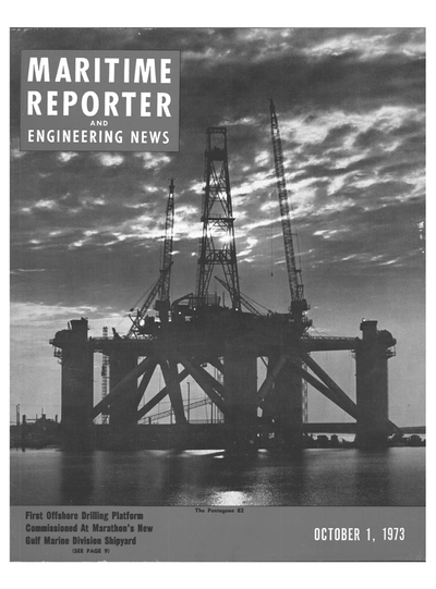Cover of October 1973 issue of Maritime Reporter and Engineering News Magazine