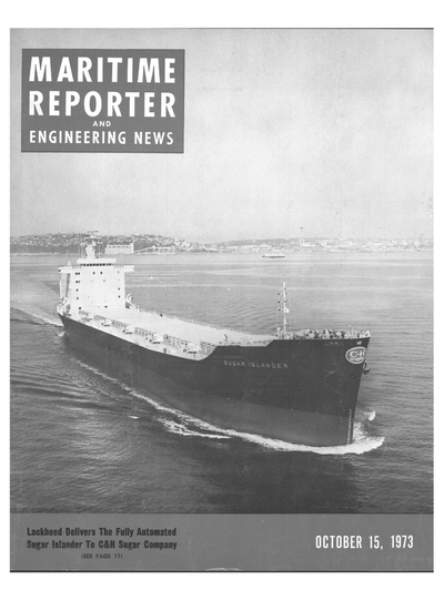 Cover of October 15, 1973 issue of Maritime Reporter and Engineering News Magazine