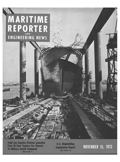 Cover of November 15, 1973 issue of Maritime Reporter and Engineering News Magazine