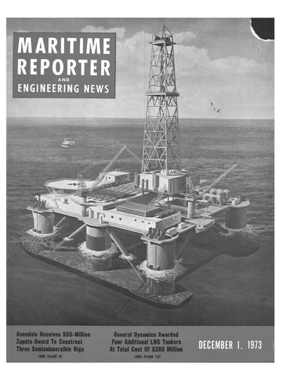 Cover of December 1973 issue of Maritime Reporter and Engineering News Magazine