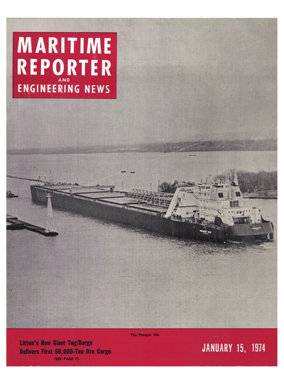 Cover of January 15, 1974 issue of Maritime Reporter and Engineering News Magazine