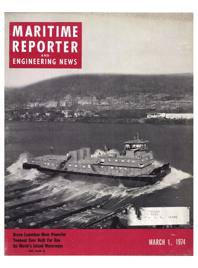 Cover of March 1974 issue of Maritime Reporter and Engineering News Magazine
