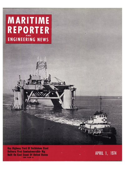 Cover of April 1974 issue of Maritime Reporter and Engineering News Magazine