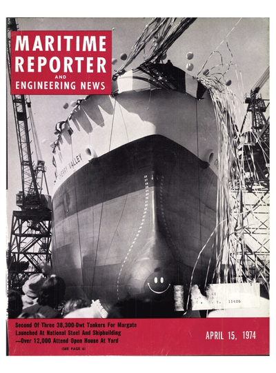 Cover of April 15, 1974 issue of Maritime Reporter and Engineering News Magazine