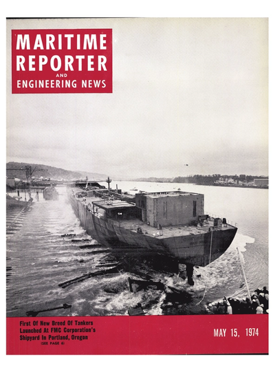Cover of May 15, 1974 issue of Maritime Reporter and Engineering News Magazine
