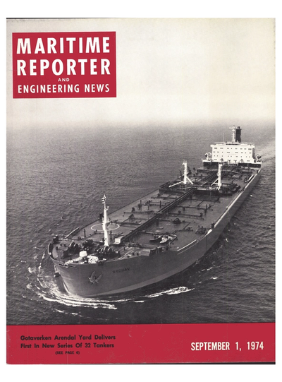 Cover of September 1974 issue of Maritime Reporter and Engineering News Magazine