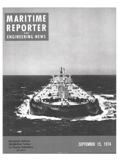 Cover of September 15, 1974 issue of Maritime Reporter and Engineering News Magazine