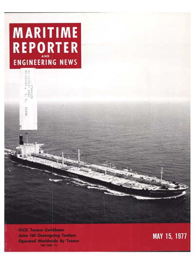 Cover of May 15, 1977 issue of Maritime Reporter and Engineering News Magazine