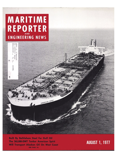 Cover of August 1977 issue of Maritime Reporter and Engineering News Magazine