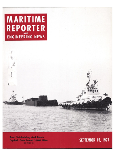 Cover of September 15, 1977 issue of Maritime Reporter and Engineering News Magazine