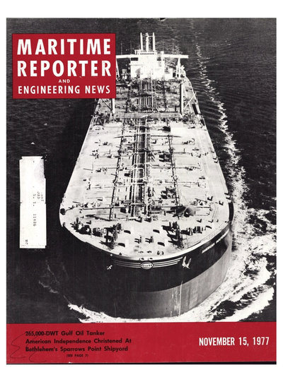 Cover of November 15, 1977 issue of Maritime Reporter and Engineering News Magazine