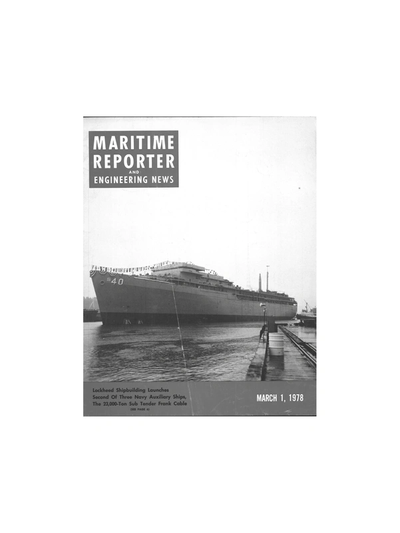 Cover of March 1978 issue of Maritime Reporter and Engineering News Magazine