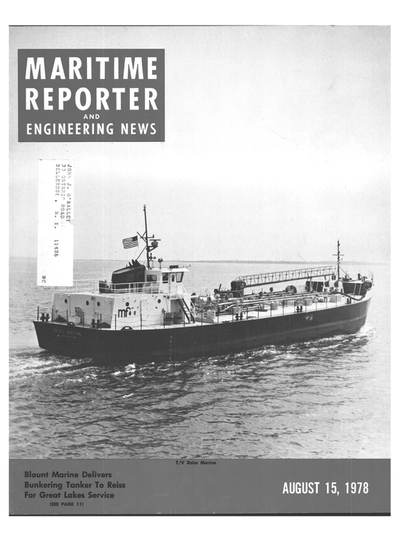 Cover of August 15, 1978 issue of Maritime Reporter and Engineering News Magazine