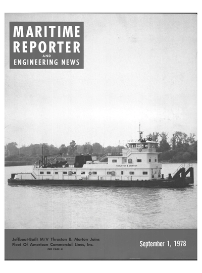 Cover of September 1978 issue of Maritime Reporter and Engineering News Magazine