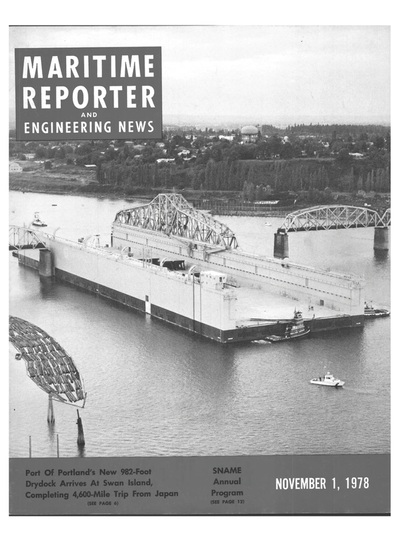 Cover of November 1978 issue of Maritime Reporter and Engineering News Magazine