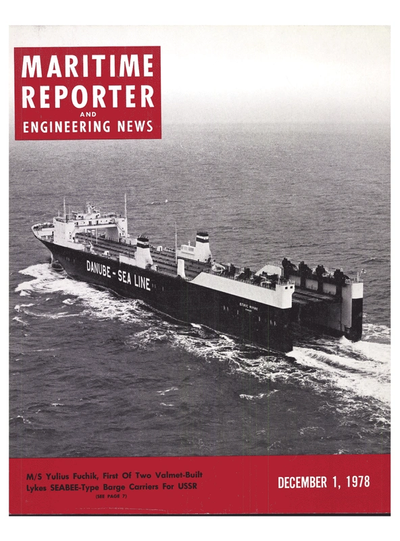 Cover of December 1978 issue of Maritime Reporter and Engineering News Magazine