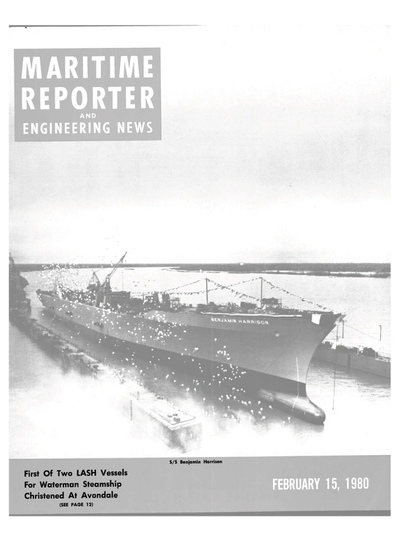Cover of February 15, 1980 issue of Maritime Reporter and Engineering News Magazine