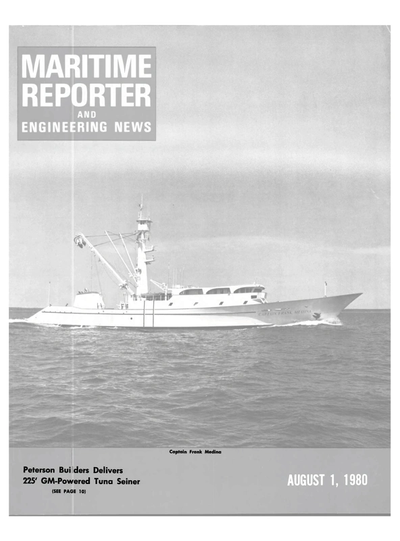Cover of August 1980 issue of Maritime Reporter and Engineering News Magazine