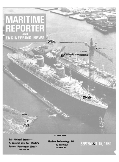 Cover of September 15, 1980 issue of Maritime Reporter and Engineering News Magazine