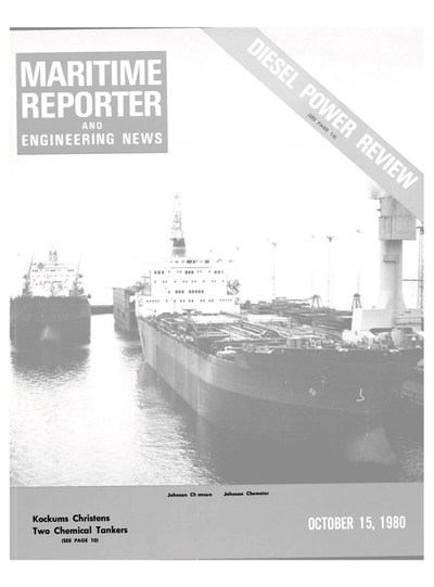 Cover of October 15, 1980 issue of Maritime Reporter and Engineering News Magazine