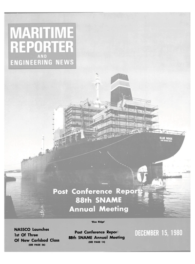 Cover of December 15, 1980 issue of Maritime Reporter and Engineering News Magazine