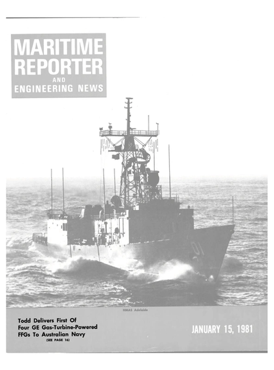 Cover of January 15, 1981 issue of Maritime Reporter and Engineering News Magazine