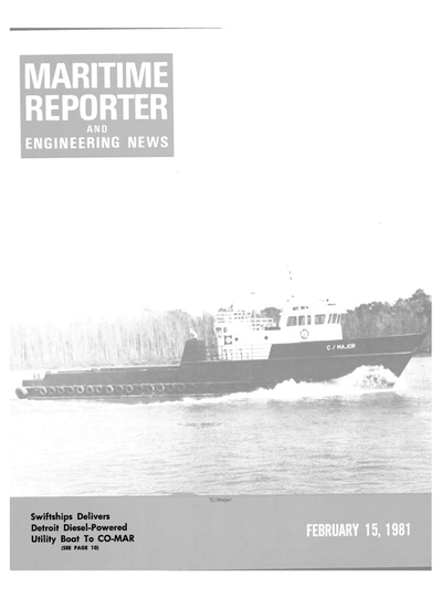 Cover of February 15, 1981 issue of Maritime Reporter and Engineering News Magazine