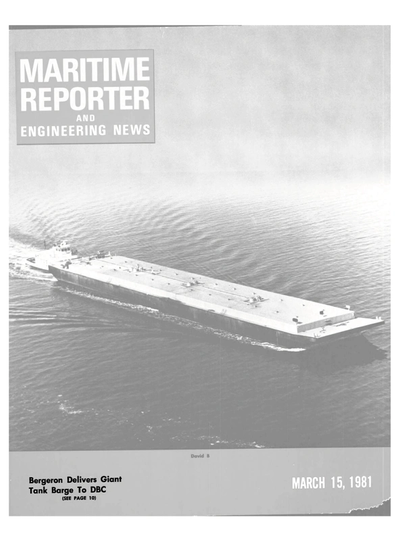 Cover of March 15, 1981 issue of Maritime Reporter and Engineering News Magazine