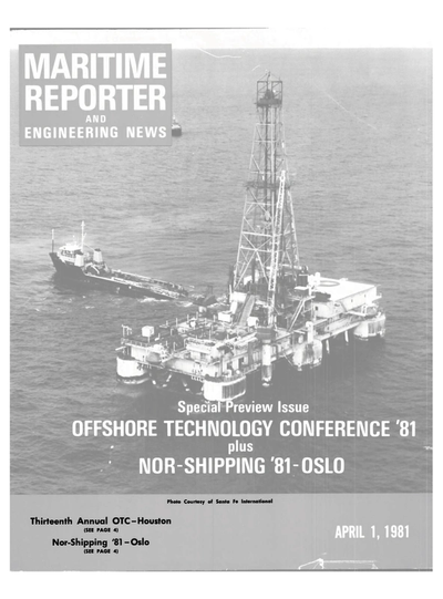Cover of April 1981 issue of Maritime Reporter and Engineering News Magazine