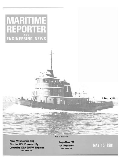 Cover of May 15, 1981 issue of Maritime Reporter and Engineering News Magazine