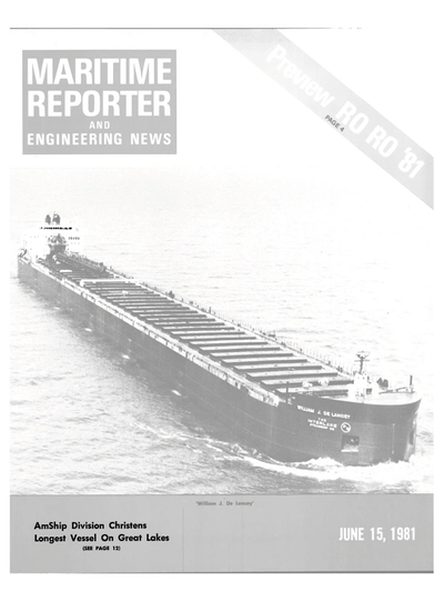 Cover of June 15, 1981 issue of Maritime Reporter and Engineering News Magazine