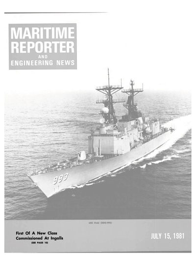 Cover of July 15, 1981 issue of Maritime Reporter and Engineering News Magazine