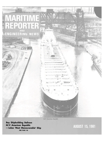Cover of August 15, 1981 issue of Maritime Reporter and Engineering News Magazine