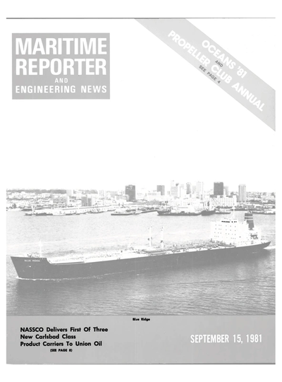Cover of September 15, 1981 issue of Maritime Reporter and Engineering News Magazine