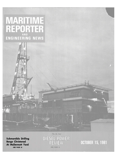 Cover of October 15, 1981 issue of Maritime Reporter and Engineering News Magazine