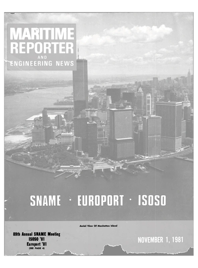 Cover of November 1981 issue of Maritime Reporter and Engineering News Magazine