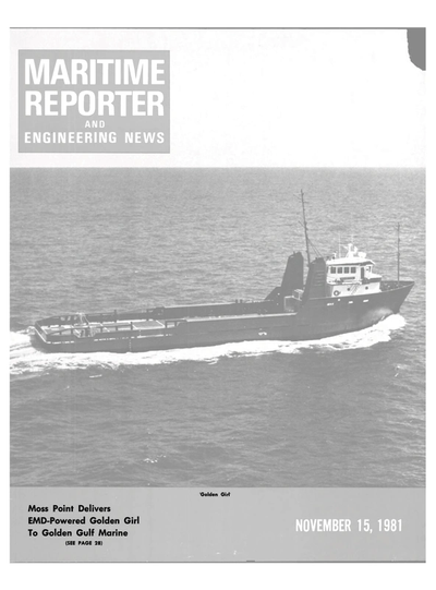 Cover of November 15, 1981 issue of Maritime Reporter and Engineering News Magazine