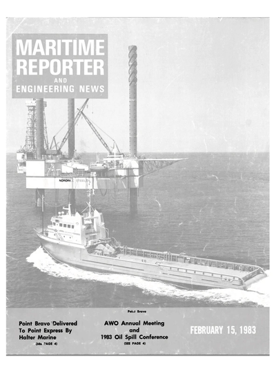 Cover of February 15, 1983 issue of Maritime Reporter and Engineering News Magazine