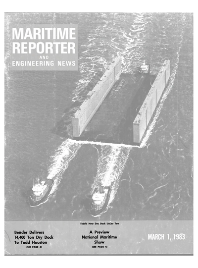 Cover of March 1983 issue of Maritime Reporter and Engineering News Magazine