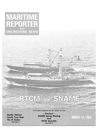 Cover of March 15, 1983 issue of Maritime Reporter and Engineering News Magazine