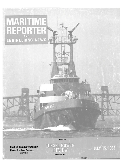 Cover of July 15, 1983 issue of Maritime Reporter and Engineering News Magazine
