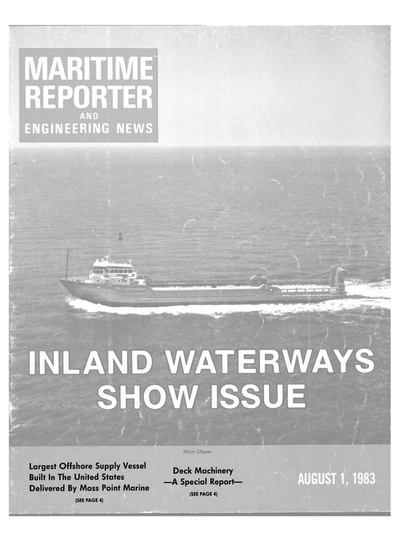 Cover of August 1983 issue of Maritime Reporter and Engineering News Magazine