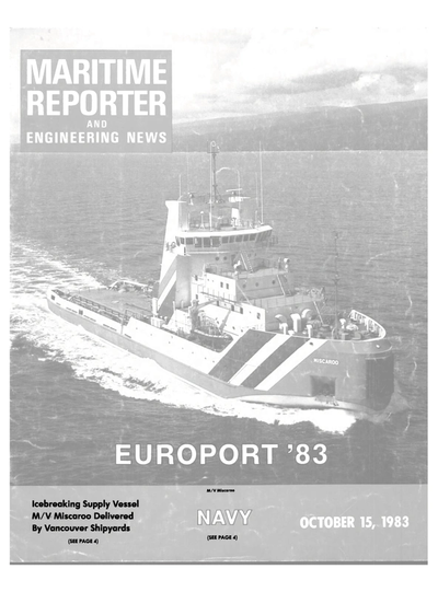 Cover of October 15, 1983 issue of Maritime Reporter and Engineering News Magazine