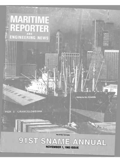 Cover of November 1983 issue of Maritime Reporter and Engineering News Magazine