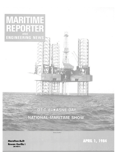Cover of April 1984 issue of Maritime Reporter and Engineering News Magazine