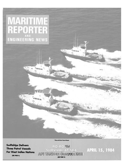Cover of April 15, 1984 issue of Maritime Reporter and Engineering News Magazine