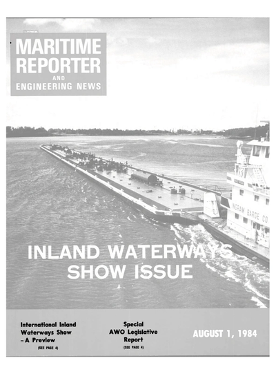 Cover of August 1984 issue of Maritime Reporter and Engineering News Magazine
