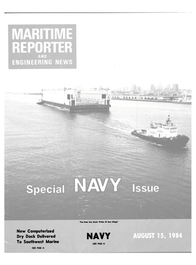 Cover of August 15, 1984 issue of Maritime Reporter and Engineering News Magazine